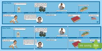 Rosa Parks Display Timeline - civil rights movement, racism, america, 1950s, bus boycott,Irish