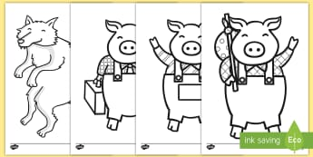 Three Little Pigs Coloring Worksheet / Activity Sheets - color, coloring, Three Little Pigs, fairytale, Big Bad Wolf, worksheet / activity sheets, worksheets