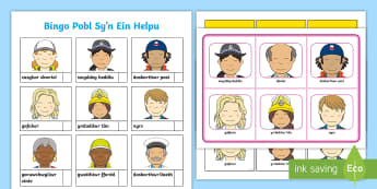 Bingo Pobl Sy'n Ein Helpu - pobl, helpu, cymuned, bingo, darllen, Welsh