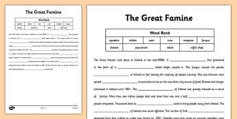 The Great Famine - Cloze Procedure - gaeilge, the famine, great famine, cloze test, worksheet, ireland history