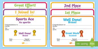 Sports Day Award Certificates English/Romanian - Sports day award certificates, reward, sports day, award, certificate, medal, rewards, school reward