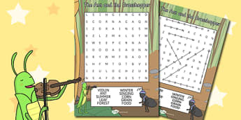 The Ant and the Grasshopper Wordsearch - ant, grasshopper, word