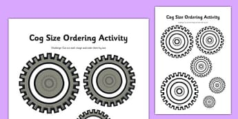 Cog Size Ordering Activity - clock shop, role play, clock, shop, roleplay, cog, size ordering