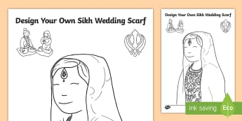 EYFS Sikh Wedding Scarf Design Activity Sheet - Marriage, Religion, Sikh, Sikhism, Celebration, worksheet