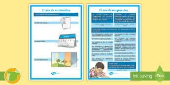 Póster: El uso de mayúsculas - ortografía, mayúsculas, minúsculas, cómo se escribe, normas