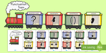 Punctuation Train Display Banner -  period, question mark, exclamation, comma, punctuation display, Parentheses, Grammar, Sentence Endi