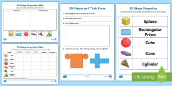 Properties of 3D Shapes Worksheet / Activity Sheets - 3D Shapes, year 1, year 2, year 3, space and measurement.,Australia, Worksheets