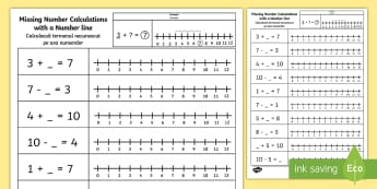 Missing Number Calculations with a Number Line Activity Sheet English/Romanian - numberline, worksheet, EAL, number bonds, 10, add, subtract
