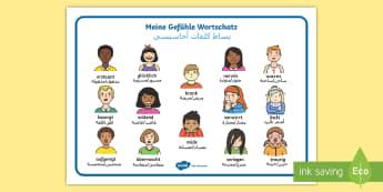 Deutsch-Arabischer Meine Gefühle Wortschatz: Querformat - Deutsch lernen, Deutsch-Arabisch, Arabisch, Syrisch, Syrien, Flüchtling, Deutsch für Flüchtlinge,