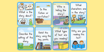 Reading Comprehension Cards - reading, books, comprehension, card