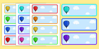 Editable Drawer - Peg - Name Labels (Plain Hot Air Balloons) - Hot Air balloon Label Templates, balloons, Resource Labels, Name Labels, Editable Labels, Drawer Labels, Coat Peg Labels, Peg Label, KS1 Labels, Foundation Labels, Foundation Stage Labels