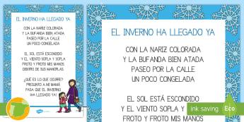 Rima: El invierno ha llegado ya - Invierno, frío, estaciones, invernal, pesías, rimas, lectura, memoria