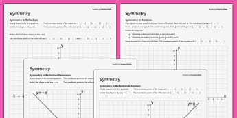 KS3_KS4 Maths Student Led Practice Sheets Symmetry - maths, KS3, KS4, GCSE, worksheet, practise, independent, growth mindset, symmetry, transformation, reflection, rotation, shape