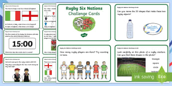 Rugby Six Nations Challenge Cards - Word Cup Maths Challenge Cards KS1 - numeracy, football, sport, challange, numracy, matsh