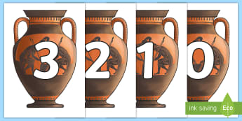 0-50 on Greek Vase Cut-Outs -  - Greek Vase Numbers - greek vase display bunting, greek bunting, vase bunting, history bunting, greek