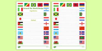 Around the World Recipe Writing Frame - around the world, recipe, writing frame, write