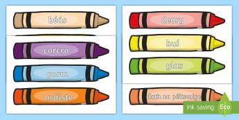 Postaer Taispeána A4: Dathanna ar Criáin - Dathanna ar criáin, dath, colour words on crayons, display, gaeilge, Irish