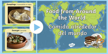 Food From Around The World PowerPoint English/Spanish  -  food from around the world, powerpoint, food, food powerpoint, information powerpoint, geography, d