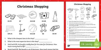 Christmas Shopping Worksheet / Activity Sheet-Irish