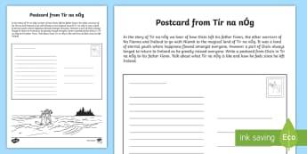 Tír na nÓg Postcard from Oisín Activity Sheet - Tír na nÓg resources, Na Fianna, Oisín, Niamh, Ireland, Land of Eternal Youth, Worksheet, Irish