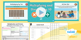 PlanIt Maths Y2 Multiplication and Division Lesson Pack Multiplication and Division Facts (5) - Multiplication and Division, instant recall, reasoning, arrays, ten times table facts, Recall and us
