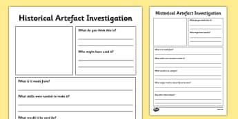 Historical Artefact Investigation Worksheet / Activity Sheet - historical, artefact, investigation, activity, sheet, artefacts, worksheet