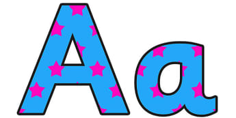 Blue and Pink Stars Small Lowercase Display Lettering - display lettering