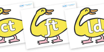 Final Letter Blends on Yellow Duck to Support Teaching on Brown Bear, Brown Bear - Final Letters, final letter, letter blend, letter blends, consonant, consonants, digraph, trigraph, literacy, alphabet, letters, foundation stage literacy