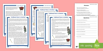 Traditional Music in Scotland Differentiated Reading Comprehension Activity - Bagpipes, Chanter, music, reading, comprehension, Scottish, Scotland