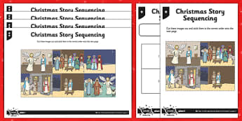Nativity Storyboard Differentiated Activity Sheets - christmas, story sequencing, story, sequence
