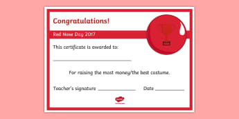 Red Nose Day Editable Certificate - red nose day, comic relief, charity, certificate, fund raising