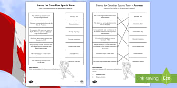 Guess the Canadian Sports Team Match and Draw - Canada, Sports, History, Junior, Grade 4, Grade 5, Grade 6