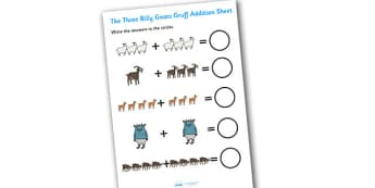 The Three Billy Goats Gruff Addition Sheet - the 3 billy goats gruff, addition sheet, the 3 billy goats gruff addition sheet, addition worksheets