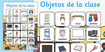 Objetos de la clase Vocabulary Poster Spanish - spanish, classroom, objects, vocabulary, poster, display