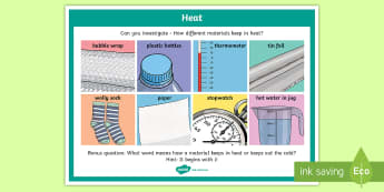 Science Materials and Insulation Investigation Prompt Display Poster - science, SESE, investigation, experiment, equipment, resources, open-ended, prompt question, procedu