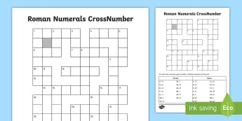 LKS2 Roman Numerals Crossnumber Activity Sheet - Crossword, Puzzle, Roman Numeral, Numbers, Place Value, Worksheet
