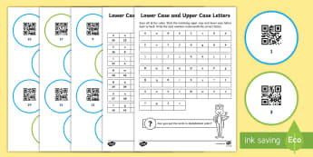 Lower Case and Upper Case Alphabet Code Hunter - QR Codes, code hunter, English, Alphabet, Lower case, Upper case, Alphabetical order, Reading, Year