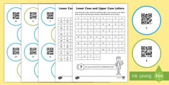 Lower Case and Upper Case Alphabet Code Hunter - QR Codes, code hunter, English, Alphabet, Lower case, Upper case, Alphabetical order, Reading, Year