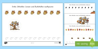 Im Wald Arbeitsblatt Erstes Schreiben: Buchstaben und Zahlen nachspuren - EYFS, Early Years, Forests, Woodlands, tree, Woodland animals, Leaves, Trees.,German