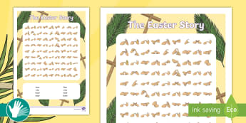 Easter Story Fingerspelling Word Search - deaf education, sign language, fingerspelling game, fingerspelling practice
