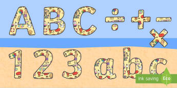 Seaside Display Lettering (Small) - seaside, the seaside, beach, at the beach, seaside lettering, seaside display lettering, seaside alphabet, seaside a-z