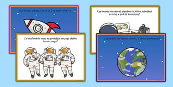 Karty z wyzwaniami Statek kosmiczny po polsku - ufoludki