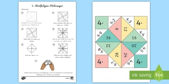 4 Malfolge Wahrsager Spiel-Scottish - 4 Times Table Fortune Teller - 4 times table, times table, fortune teller, activity, craft, fold,Tim