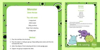 Monster Slime Recipe - sensory play, slime, monsters, Shrek, cornflour, gloop, jelly, goo
