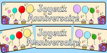French Happy Birthday Display Banner - french, happy birthday, display