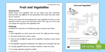 Fruits and Vegetables Crossword - Amazing Fact Of The Day, activity sheets, powerpoint, starter, morning activity, May, crossword, fru