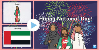 UAE National Day Word and Picture PowerPoint - UAE National Day, National Day, UAE Holidays, UAE Celebrations, UAE