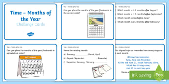 CfE 1st level Time  Months of the Year Challenge Cards - CfE Numeracy and Mathematics, number, time, months of the year, months, challenge cards,Scottish