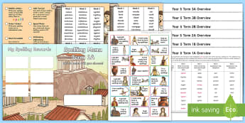Year 5 Ancient Greece Themed Spelling Menu Pack - spag, gps, home learning, weekly, lists, test, spelling patterns, spelling rules