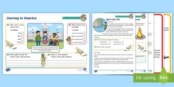 KS1 A Journey to America Focused Reading Skills Comprehension Pack - Road Trip USA, Cornerstones, Retrieval, Inference, Prediction, Summarising, Vocabulary, Understandin